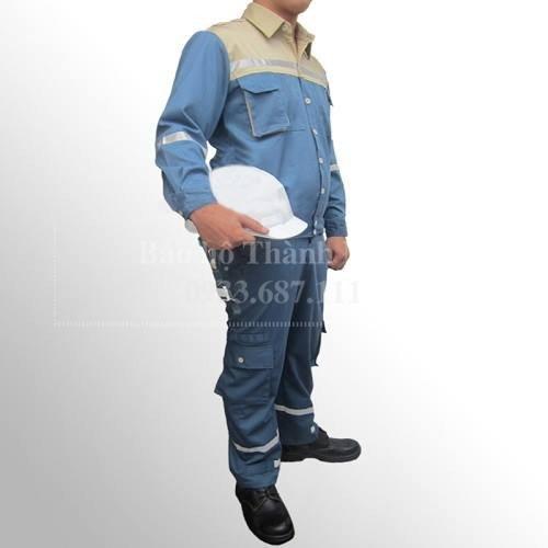 Quần áo bảo hộ lao động pangrim Hàn Quốc pha màu xanh ghi