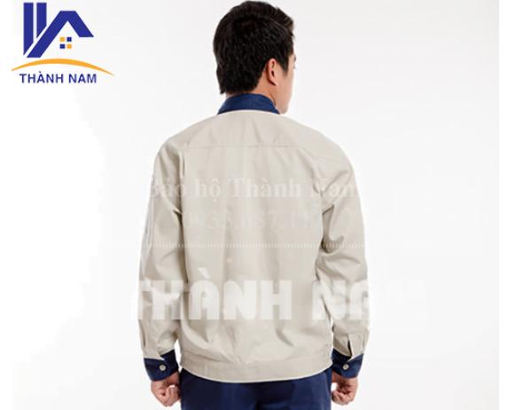 Quần áo bảo hộ vải PangRim Hàn Quốc TTN01, Màu trắng phối cổ xanh