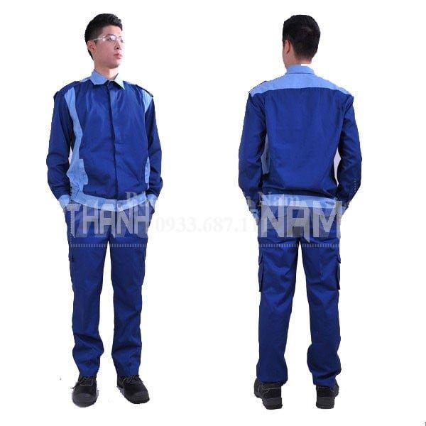 Quần áo bảo hộ vải PangRim Hàn Quốc, Màu Xanh Sọc