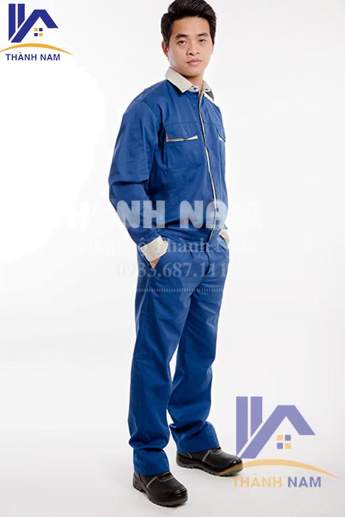 Quần áo bảo hộ Hàn Quốc TTN03, Vải PangRim phối màu xanh