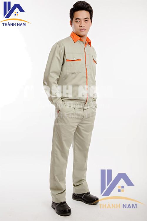 Quần áo bảo hộ Hàn Quốc vải PangRim trắng cố phối cam
