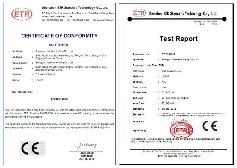 Chứng nhận: EN388, chứng nhận CE